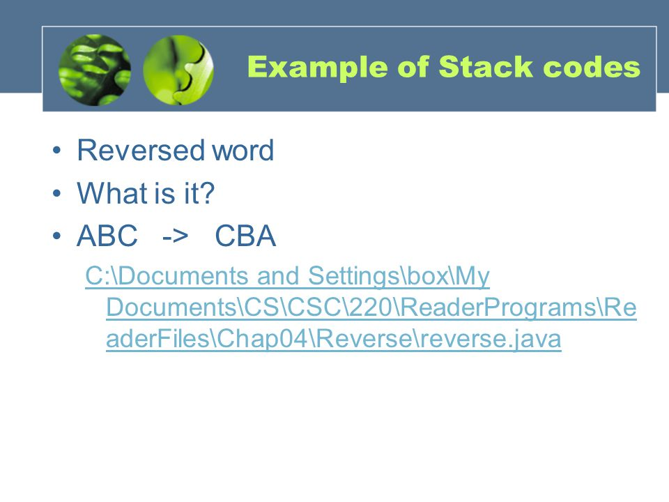 Example of Stack codes Reversed word What is it.
