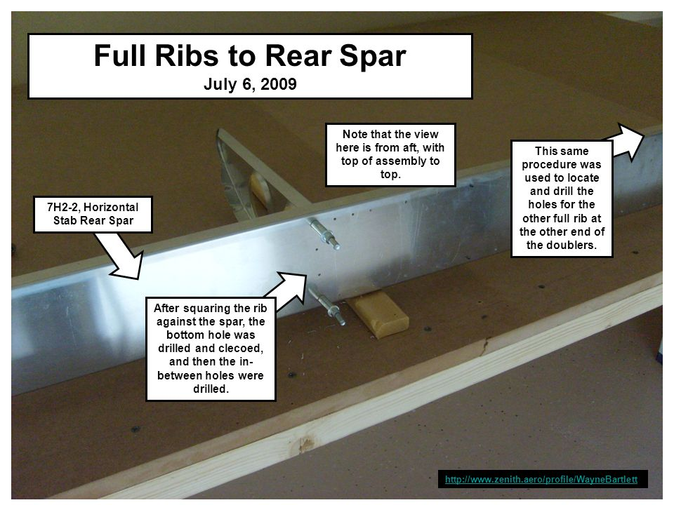 http://www.zenith.aero/profile/WayneBartlett Full Ribs to Rear Spar July 6, 2009 7H2-2, Horizontal Stab Rear Spar After squaring the rib against the spar, the bottom hole was drilled and clecoed, and then the in- between holes were drilled.