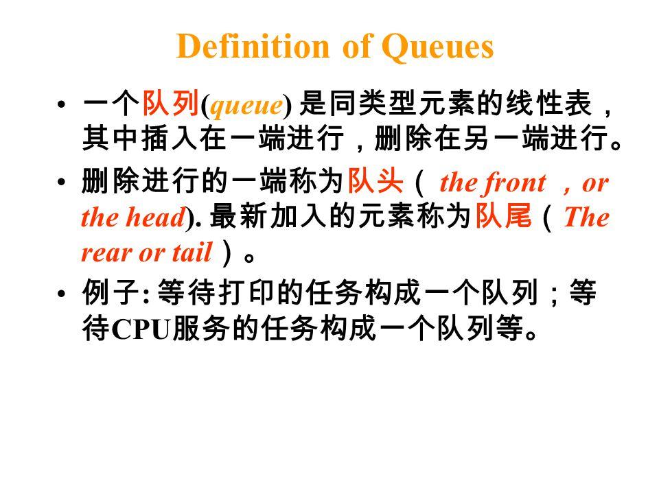 Definition of Queues 一个队列 (queue) 是同类型元素的线性表, 其中插入在一端进行,删除在另一端进行。 删除进行的一端称为队头( the front , or the head). 最新加入的元素称为队尾( The rear or tail )。 例子 : 等待打印的任务