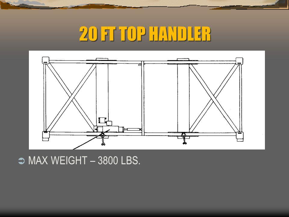 20 FT TOP HANDLER  MAX WEIGHT – 3800 LBS.