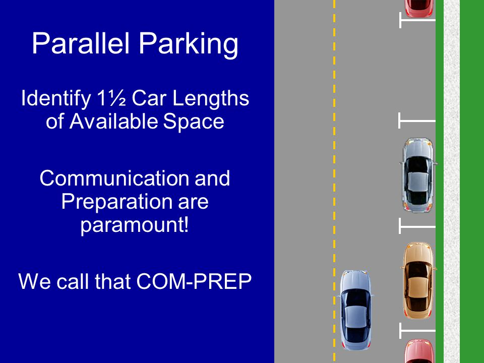 Parallel Parking Identify 1½ Car Lengths of Available Space Communication and Preparation are paramount! We call that COM-PREP
