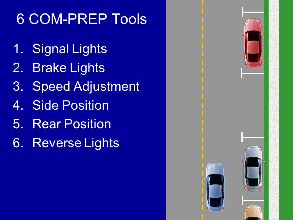 6 COM-PREP Tools 1.Signal Lights 2.Brake Lights 3.Speed Adjustment 4.Side Position 5.Rear Position 6.Reverse Lights