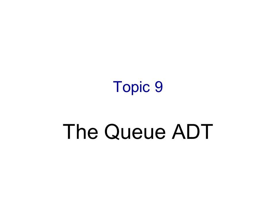 Topic 9 The Queue ADT