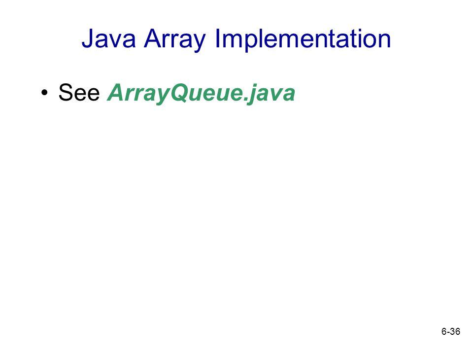 6-36 Java Array Implementation See ArrayQueue.java