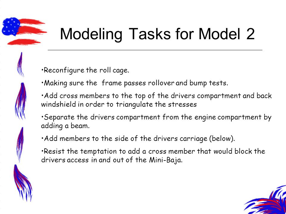 Modeling Tasks for Model 2 Reconfigure the roll cage.