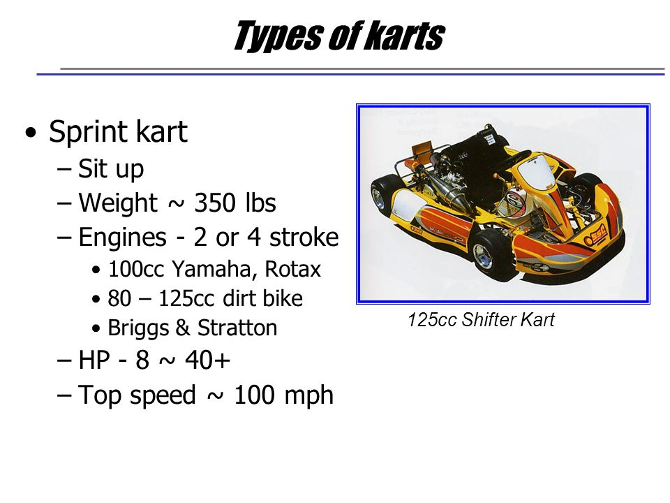 Types of karts Enduro kart –Laydown –Road racing only –Engines - 2 stroke Piston port (KT100 Yamaha, TKM) Reed/Rotary (DAP, Parilla, Komet, PCR) –Top speed >100 mph Laydown Enduro Kart