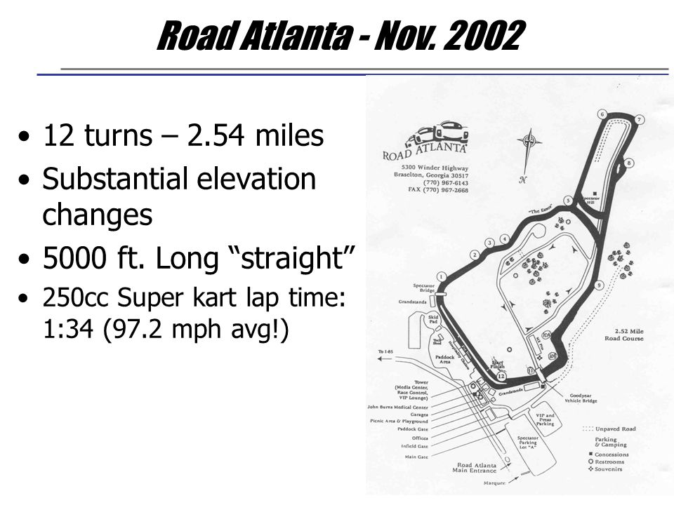 "Road Atlanta - Nov. 2002 12 turns – 2.54 miles Substantial elevation changes 5000 ft. Long ""straight"" 250cc Super kart lap time: 1:34 (97.2 mph avg!)"