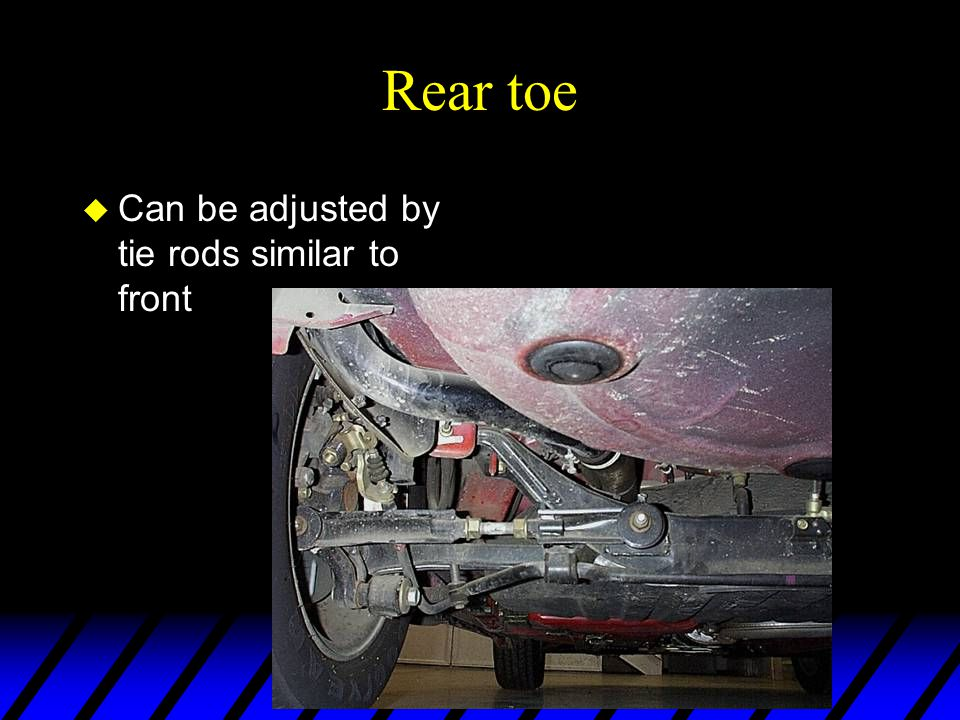 Rear toe u Can be adjusted by tie rods similar to front