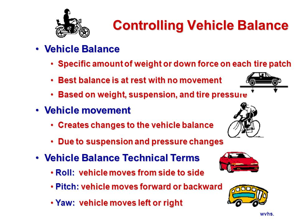 wvhs. Controlling Vehicle Balance Vehicle Balance Vehicle Balance Specific amount of weight or down force on each tire patch Specific amount of weight