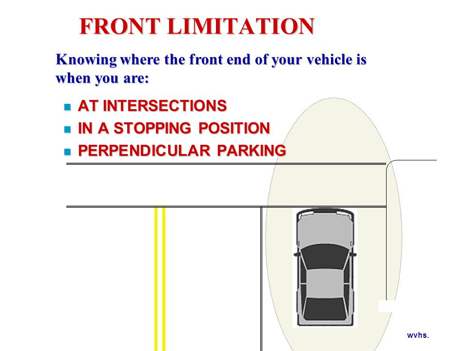 wvhs. FRONT LIMITATION n AT INTERSECTIONS n IN A STOPPING POSITION n PERPENDICULAR PARKING Knowing where the front end of your vehicle is when you are