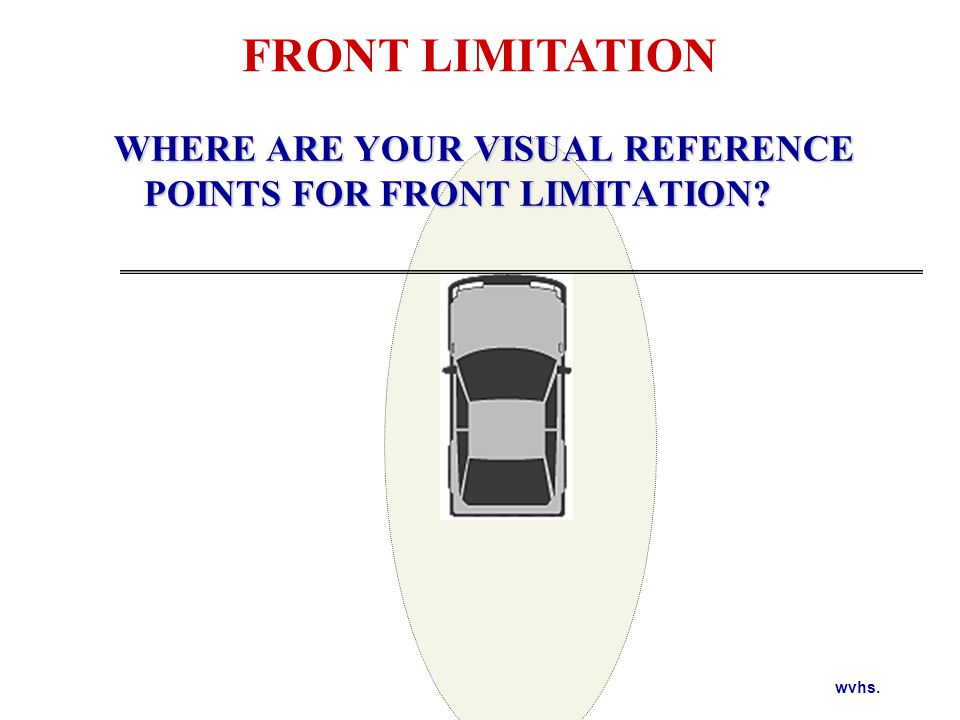 wvhs. WHERE ARE YOUR VISUAL REFERENCE POINTS FOR FRONT LIMITATION? FRONT LIMITATION