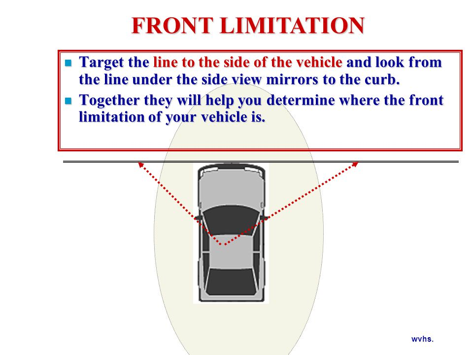wvhs. Target the line to the side of the vehicle and look from the line under the side view mirrors to the curb. Target the line to the side of the ve