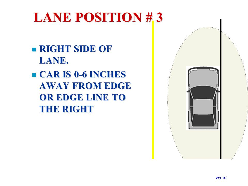wvhs. RIGHT SIDE OF LANE. RIGHT SIDE OF LANE. CAR IS 0-6 INCHES AWAY FROM EDGE OR EDGE LINE TO THE RIGHT CAR IS 0-6 INCHES AWAY FROM EDGE OR EDGE LINE