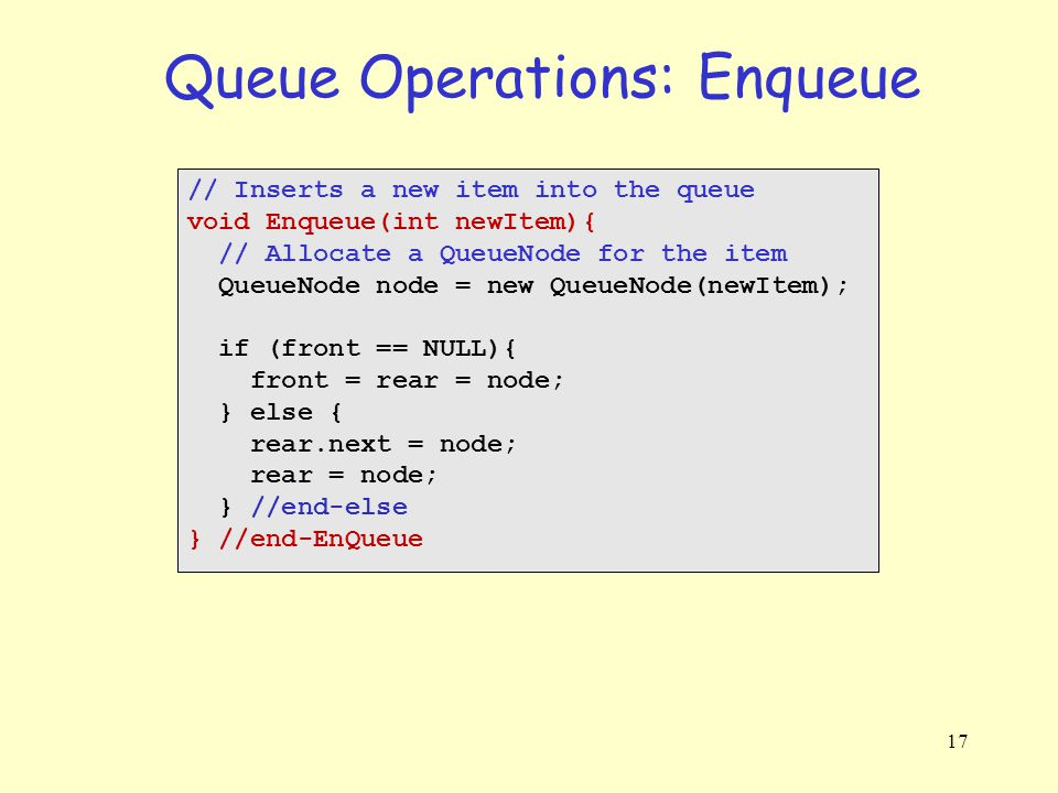 17 Queue Operations: Enqueue // Inserts a new item into the queue void Enqueue(int newItem){ // Allocate a QueueNode for the item QueueNode node = new QueueNode(newItem); if (front == NULL){ front = rear = node; } else { rear.next = node; rear = node; } //end-else } //end-EnQueue