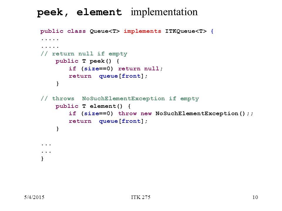 5/4/2015ITK 27510 public class Queue implements ITKQueue {.....