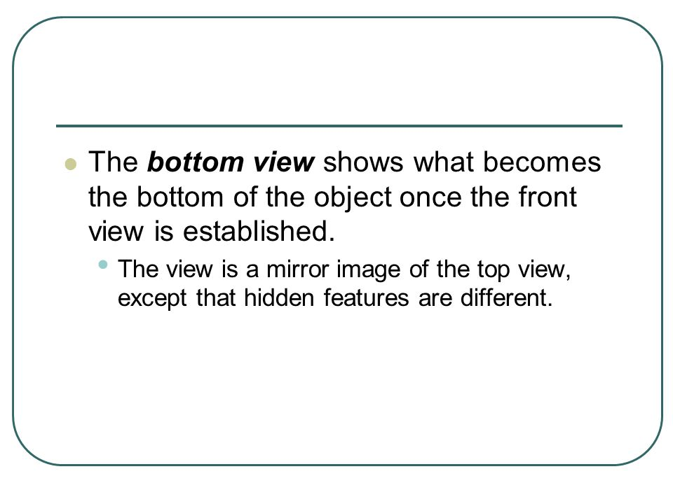 The bottom view shows what becomes the bottom of the object once the front view is established.