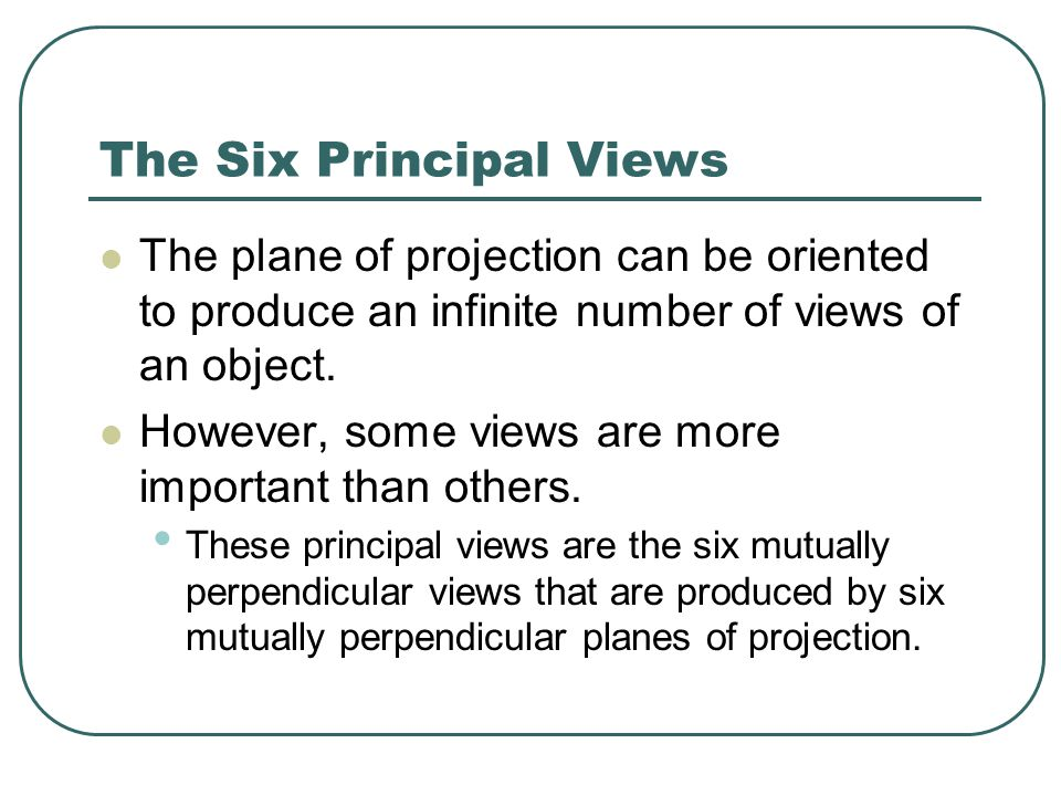 The Six Principal Views The plane of projection can be oriented to produce an infinite number of views of an object.