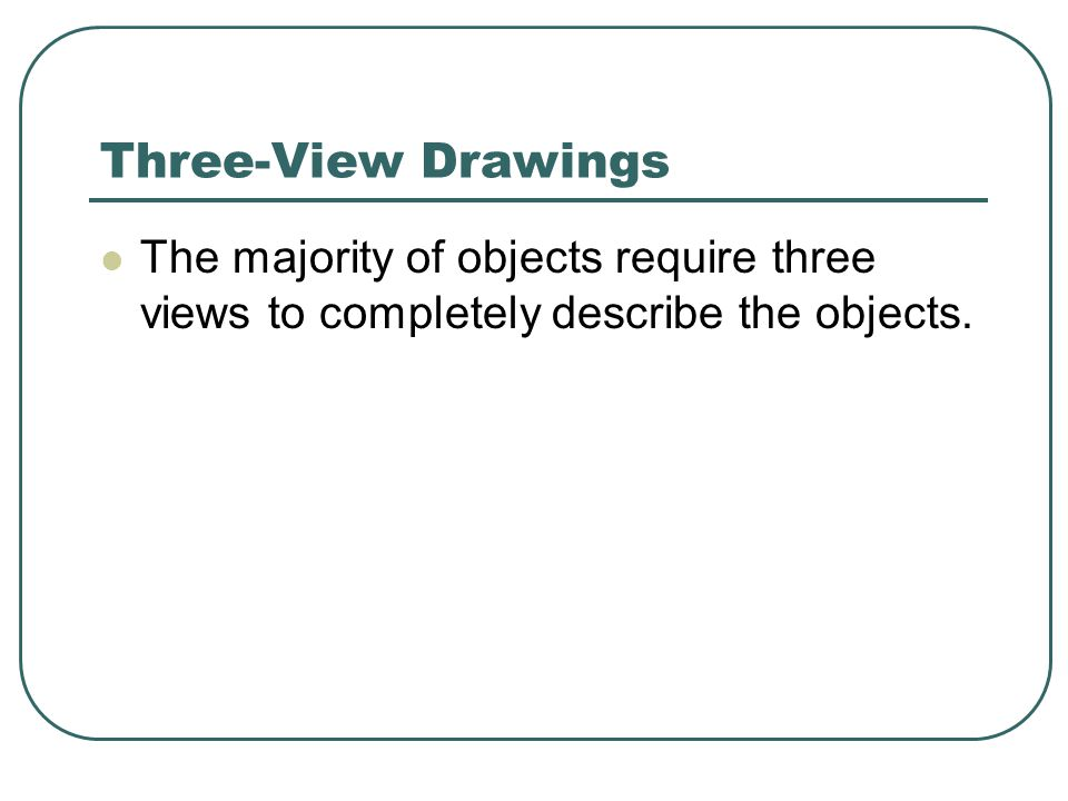 Three-View Drawings The majority of objects require three views to completely describe the objects.
