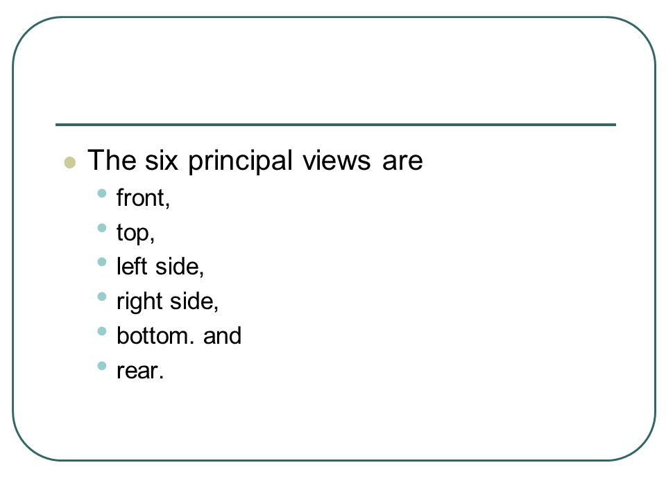 The six principal views are front, top, left side, right side, bottom. and rear.