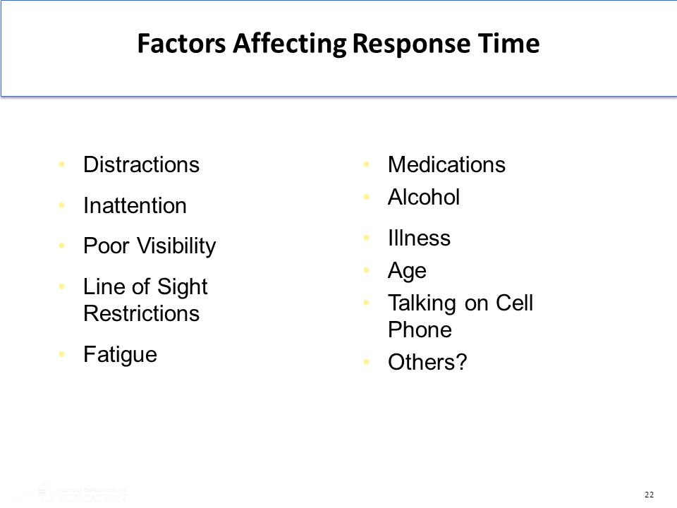22 Medications Alcohol Illness Age Talking on Cell Phone Others? Distractions Inattention Poor Visibility Line of Sight Restrictions Fatigue Factors A