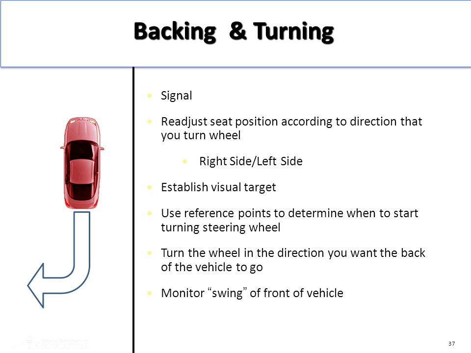 37 Signal Readjust seat position according to direction that you turn wheel Right Side/Left Side Establish visual target Use reference points to deter