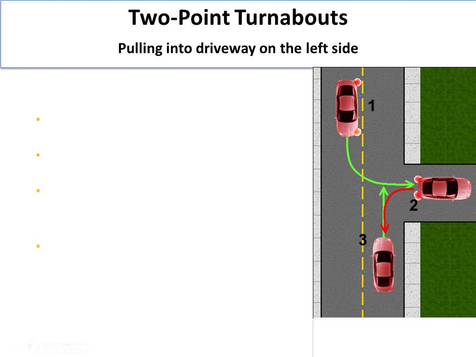 43 Two-Point Turnabouts 1.Check traffic flow Signal and position your vehicle to 3-6 inches from center yellow line When traffic is clear, drive into