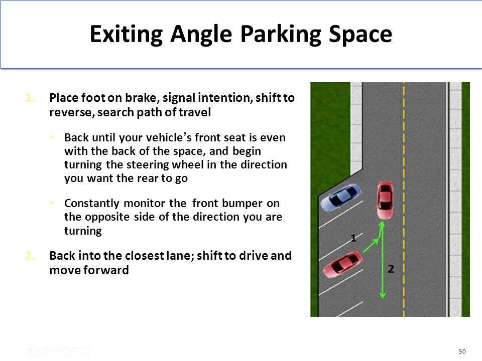 50 Exiting Angle Parking Space 1.Place foot on brake, signal intention, shift to reverse, search path of travel Back until your vehicle's front seat i