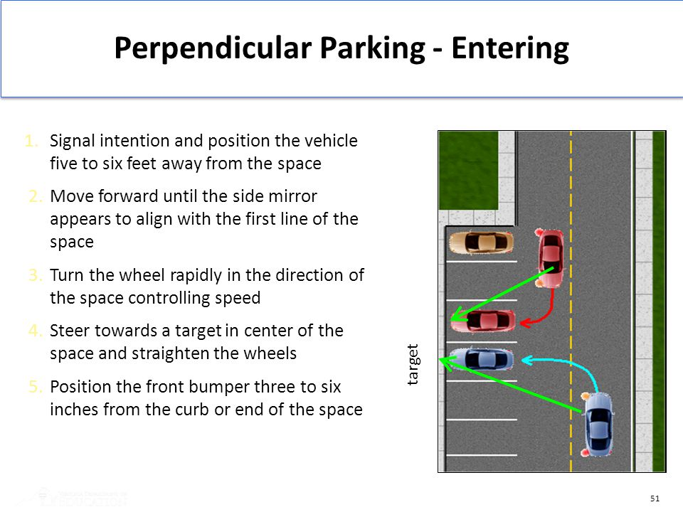 51 Perpendicular Parking - Entering 1. Signal intention and position the vehicle five to six feet away from the space 2. Move forward until the side m