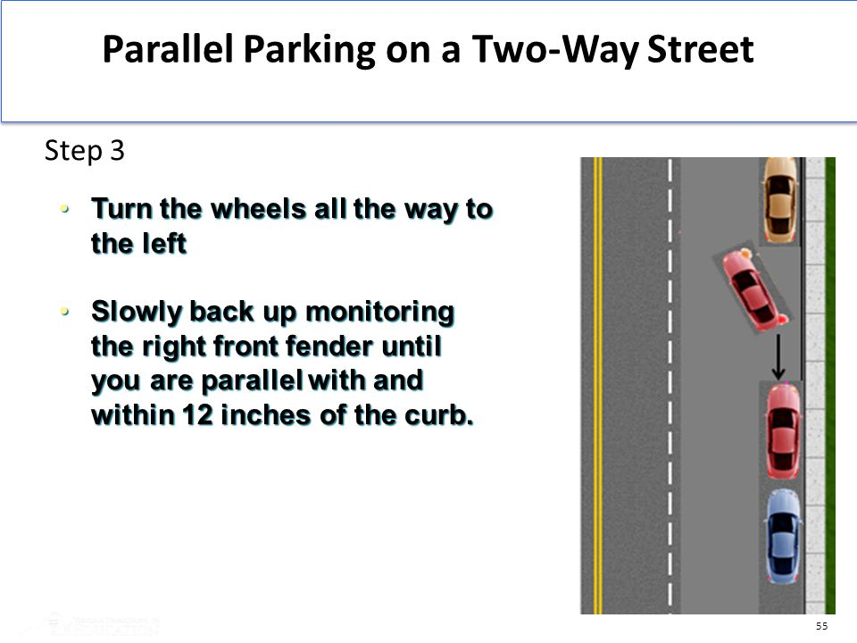 55 Parallel Parking on a Two-Way Street Step 3 Turn the wheels all the way to the leftTurn the wheels all the way to the left Slowly back up monitorin