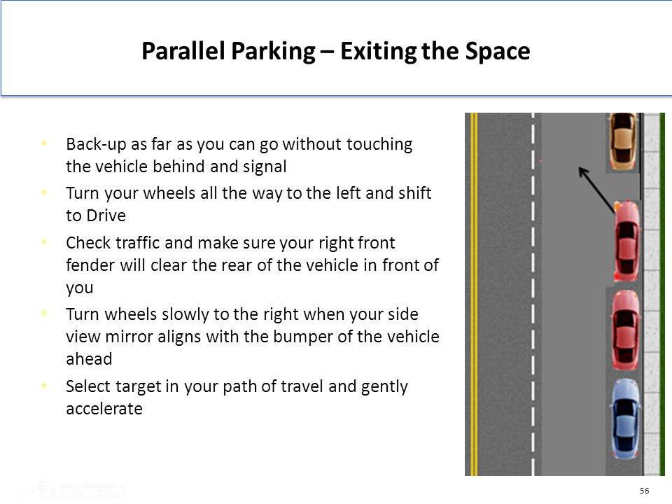 56 Parallel Parking – Exiting the Space Back-up as far as you can go without touching the vehicle behind and signal Turn your wheels all the way to th