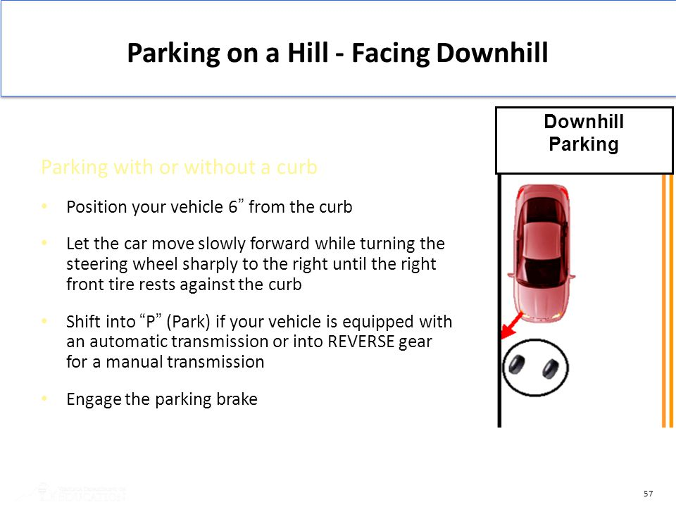 "57 Parking on a Hill - Facing Downhill Parking with or without a curb Position your vehicle 6"" from the curb Let the car move slowly forward while tur"
