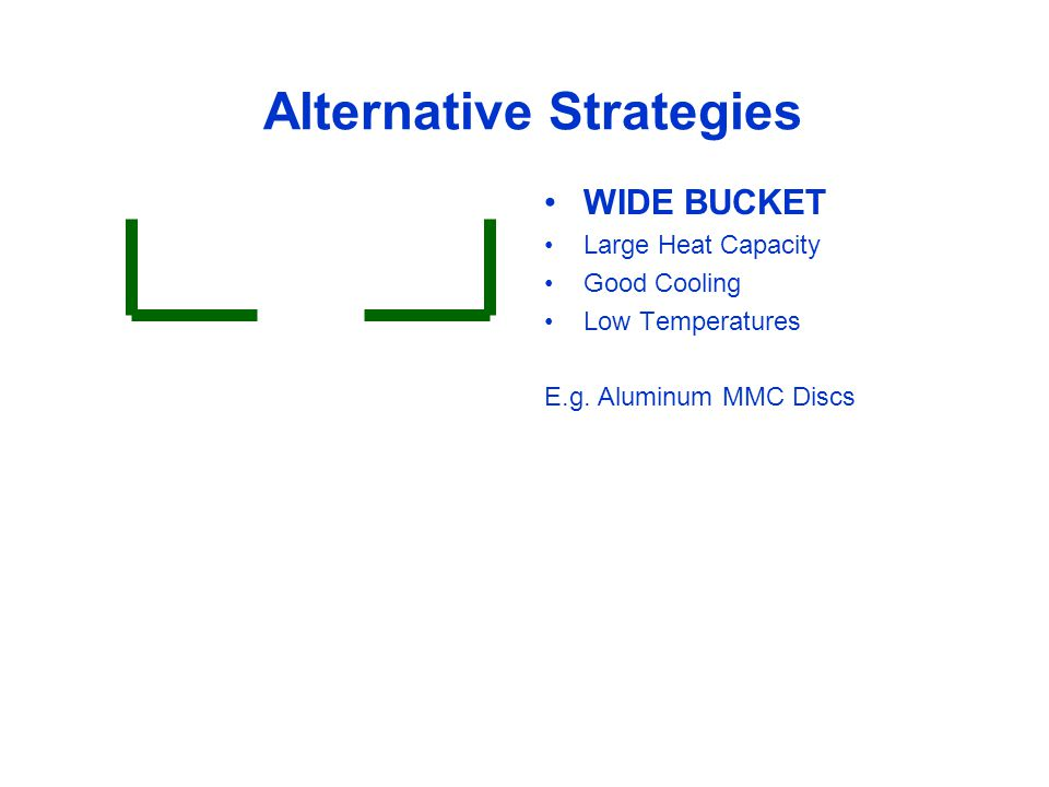 Alternative Strategies WIDE BUCKET Large Heat Capacity Good Cooling Low Temperatures E.g.