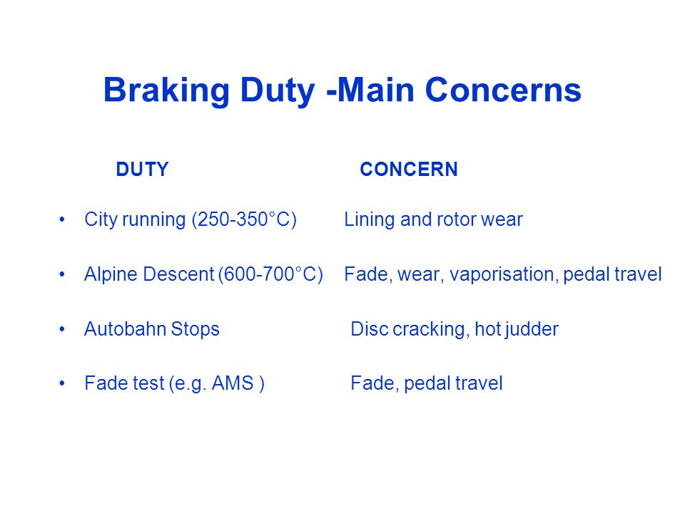 Braking Duty -Main Concerns DUTY CONCERN City running (250-350°C) Lining and rotor wear Alpine Descent (600-700°C)Fade, wear, vaporisation, pedal travel Autobahn Stops Disc cracking, hot judder Fade test (e.g.