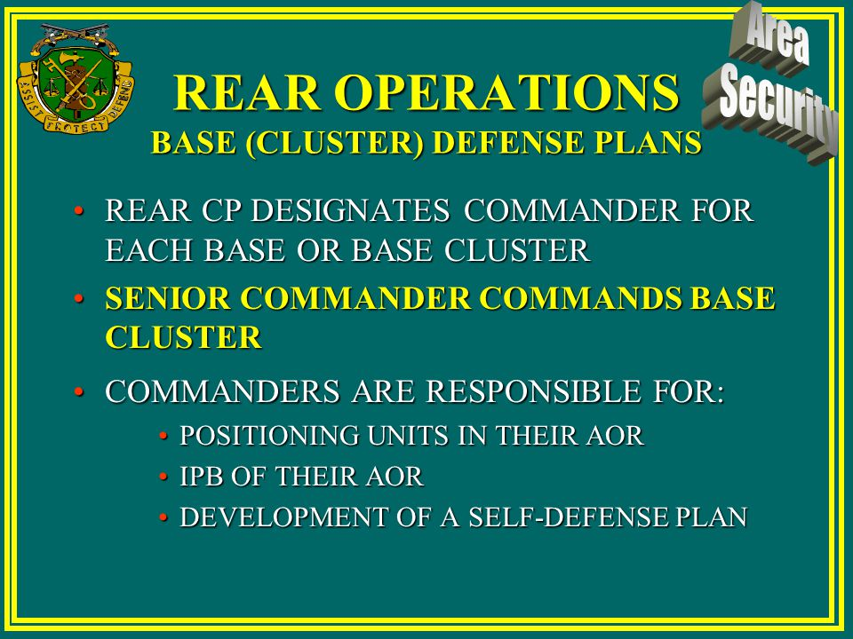 Area of Responsibility Defense Plan Development 72 Hours Corps Order RAOC AOR Defense Plan Clusters Develop Cluster Plan RAOC approves Rolls into AOR