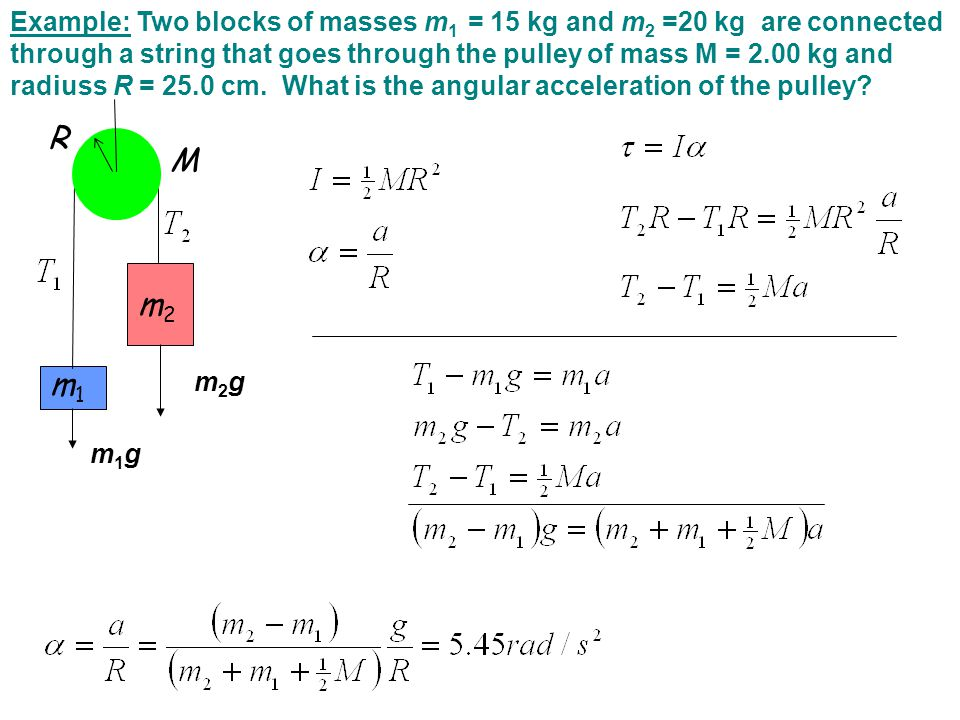 Example: Two blocks of masses m 1 = 15 kg and m 2 =20 kg are connected through a string that goes through the pulley of mass M = 2.00 kg and radiuss R = 25.0 cm.