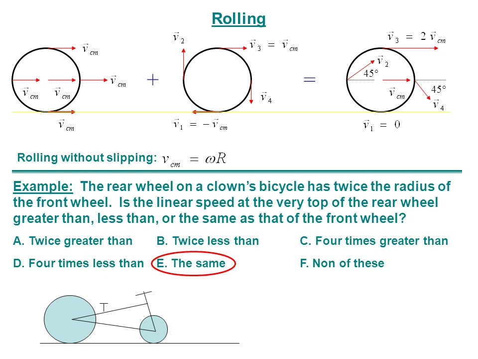 Rolling += 45° Example: The rear wheel on a clown's bicycle has twice the radius of the front wheel.