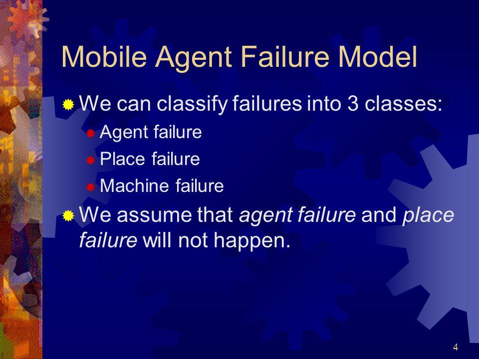4 Mobile Agent Failure Model  We can classify failures into 3 classes:  Agent failure  Place failure  Machine failure  We assume that agent failu
