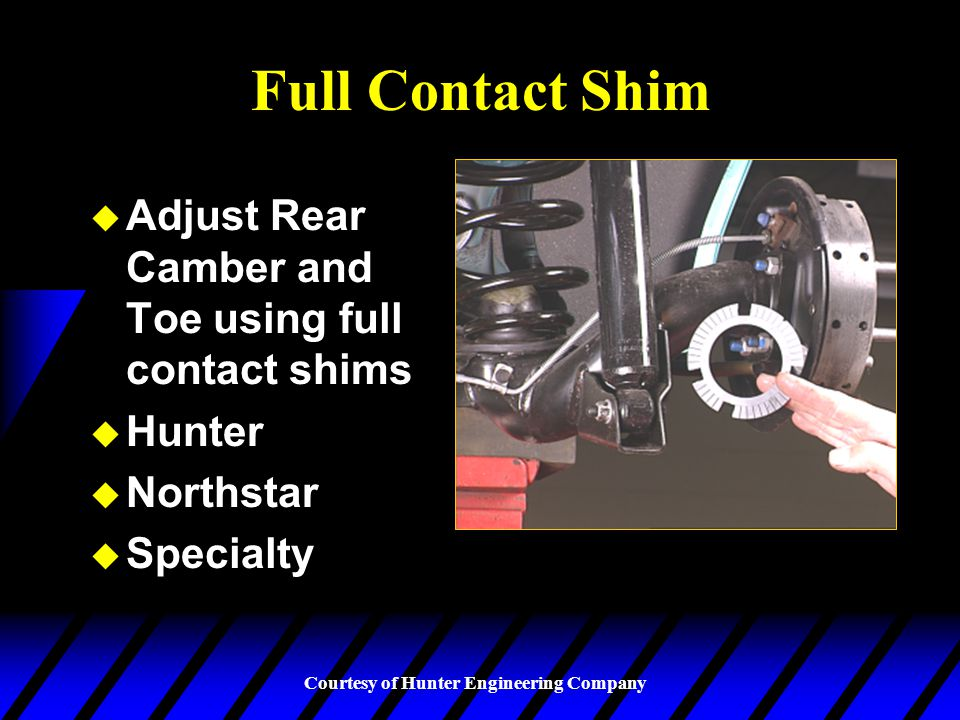 Courtesy of Hunter Engineering Company Eccentric Cams u Eccentric cams may be used to adjust rear toe and /or camber