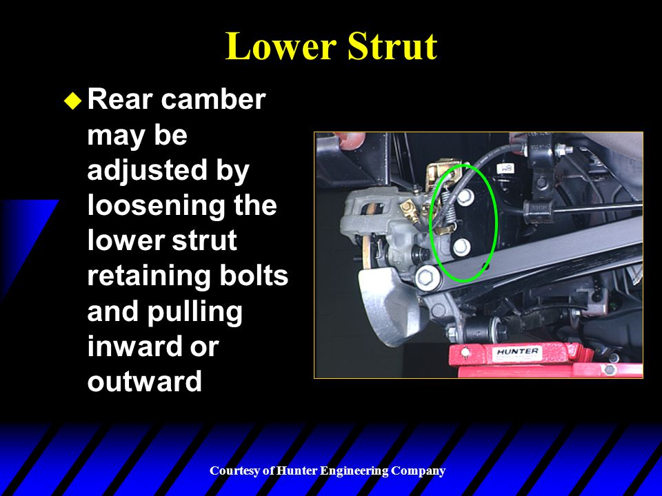 Courtesy of Hunter Engineering Company Slotted Control Arm u Rear lower control arms may be slotted to permit toe and camber adjustments