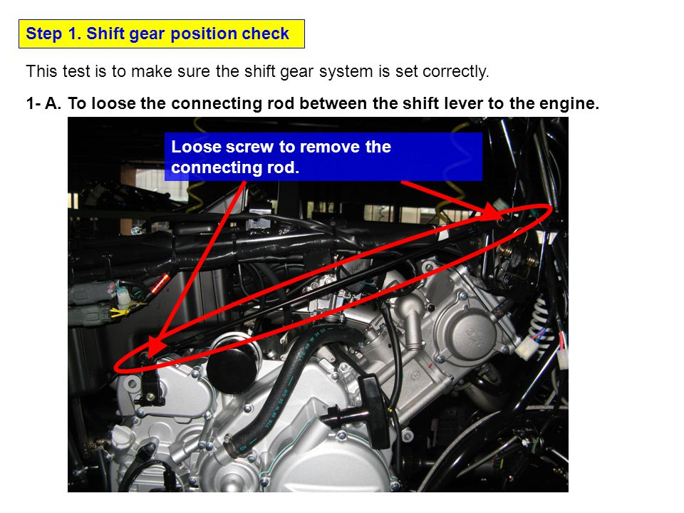 Step 1. Shift gear position check This test is to make sure the shift gear system is set correctly.