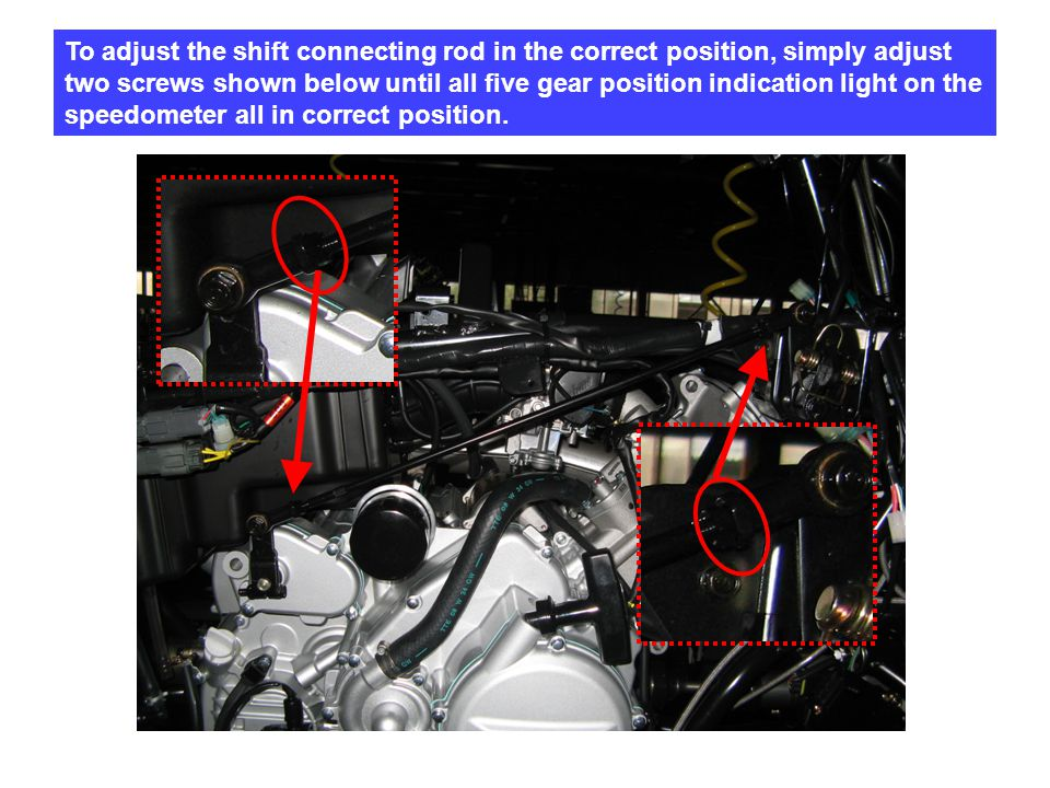 To adjust the shift connecting rod in the correct position, simply adjust two screws shown below until all five gear position indication light on the speedometer all in correct position.