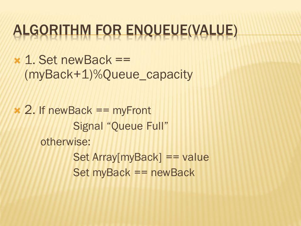  1. Set newBack == (myBack+1)%Queue_capacity  2.