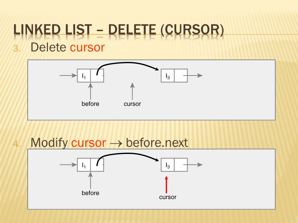 3. Delete cursor 4. Modify cursor  before.next