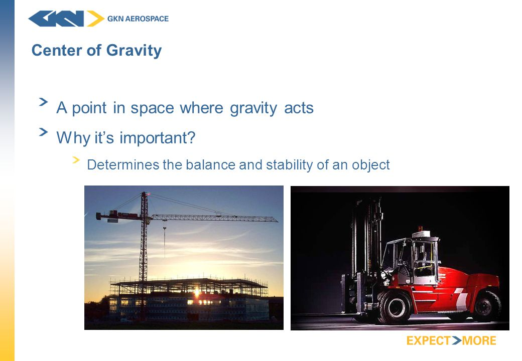 Center of Gravity A point in space where gravity acts Why it's important.