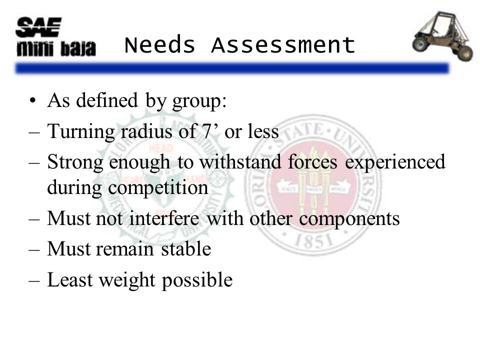 Needs Assessment As defined by group: –Turning radius of 7' or less –Strong enough to withstand forces experienced during competition –Must not interf