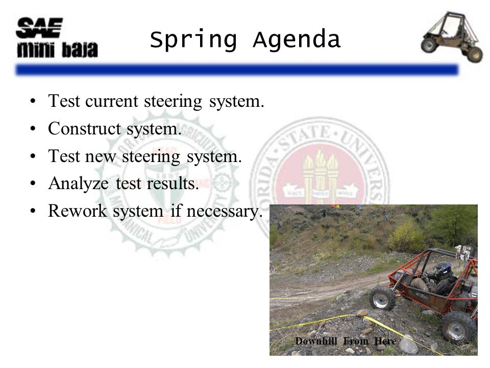 Spring Agenda Test current steering system. Construct system. Test new steering system. Analyze test results. Rework system if necessary. Downhill Fro