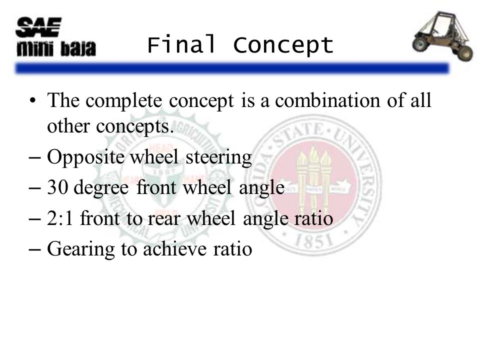 Final Concept The complete concept is a combination of all other concepts. –Opposite wheel steering –30 degree front wheel angle –2:1 front to rear wh