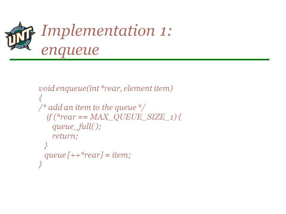 void enqueue(int *rear, element item) { /* add an item to the queue */ if (*rear == MAX_QUEUE_SIZE_1) { queue_full( ); return; } queue [++*rear] = item; } Implementation 1: enqueue