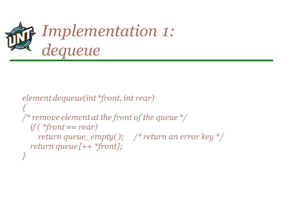 element dequeue(int *front, int rear) { /* remove element at the front of the queue */ if ( *front == rear) return queue_empty( ); /* return an error key */ return queue [++ *front]; } Implementation 1: dequeue