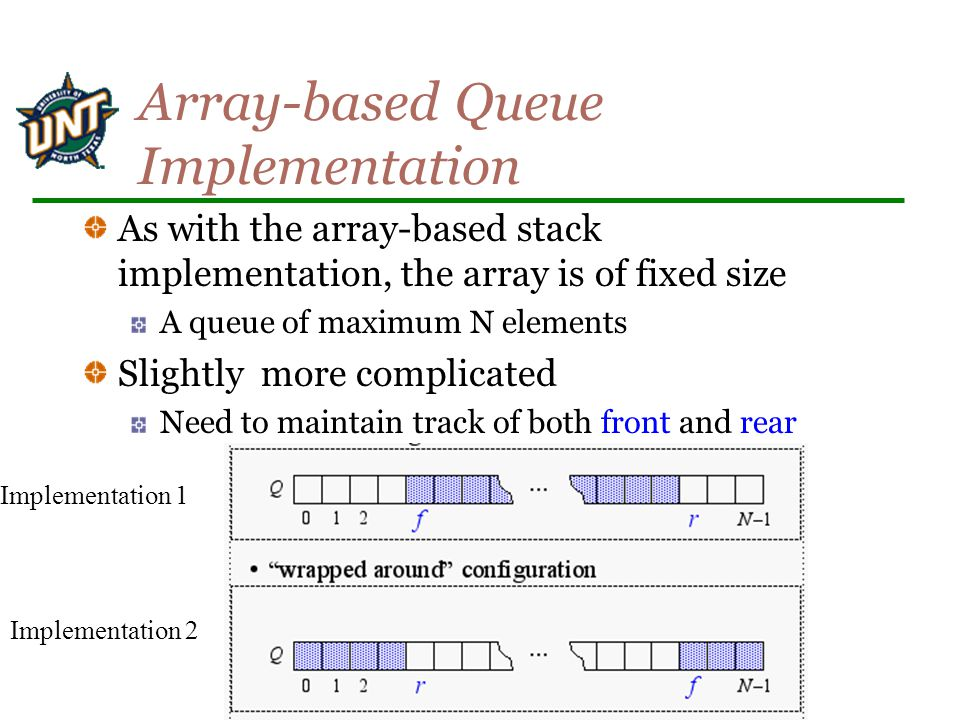Array-based Queue Implementation As with the array-based stack implementation, the array is of fixed size A queue of maximum N elements Slightly more complicated Need to maintain track of both front and rear Implementation 1 Implementation 2